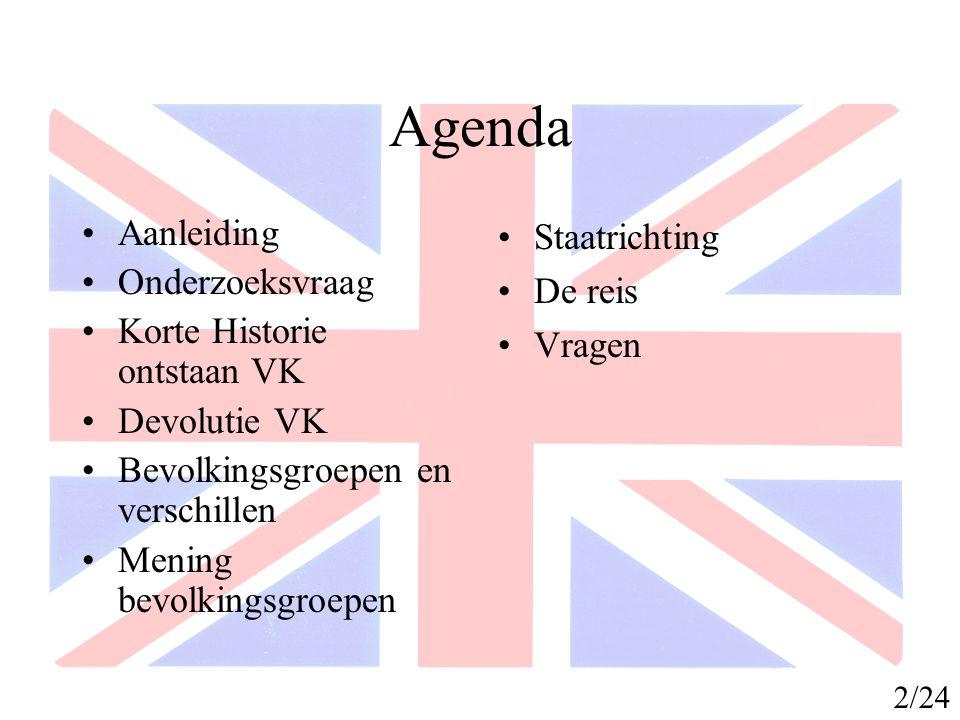 Agenda Aanleiding Onderzoeksvraag Korte Historie ontstaan VK Devolutie VK Bevolkingsgroepen en verschillen Mening bevolkingsgroepen Staatrichting De r