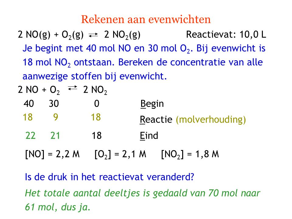Rekenen aan evenwichten 2 NO(g) + O 2 (g) 2 NO 2 (g) Reactievat: 10,0 L Je begint met 40 mol NO en 30 mol O 2. Bij evenwicht is 18 mol NO 2 ontstaan.