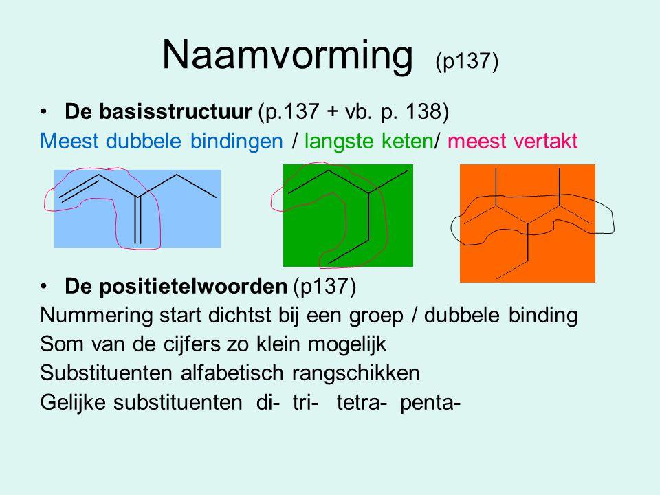 Naamvorming (p137) De basisstructuur (p.137 + vb. p. 138) Meest dubbele bindingen / langste keten/ meest vertakt De positietelwoorden (p137) Nummering