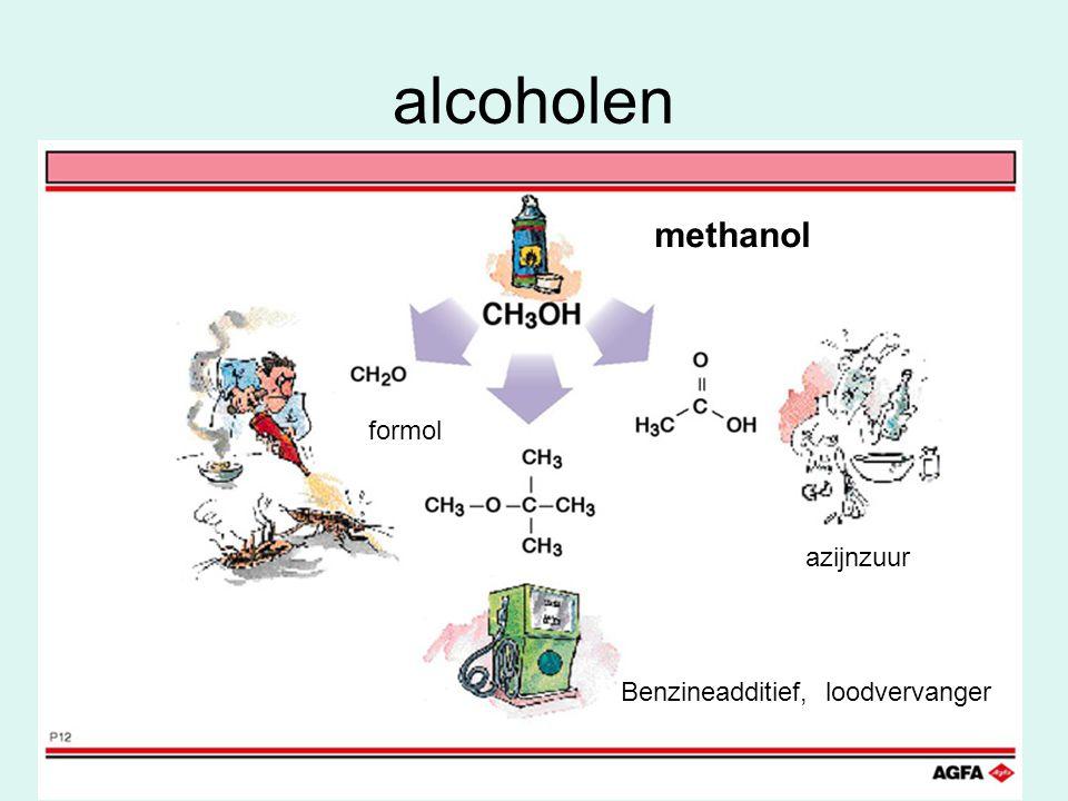 alcoholen formol azijnzuur Benzineadditief, loodvervanger methanol