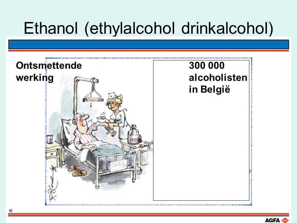 Ethanol (ethylalcohol drinkalcohol) Ontsmettende werking 300 000 alcoholisten in België