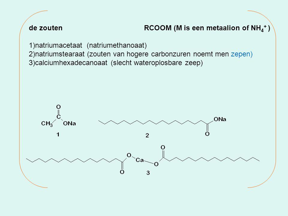 de zoutenRCOOM (M is een metaalion of NH 4 + ) 1)natriumacetaat (natriumethanoaat) 2)natriumstearaat (zouten van hogere carbonzuren noemt men zepen) 3