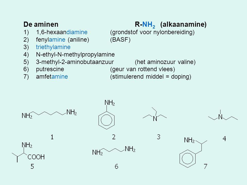 De aminenR-NH 2 (alkaanamine) 1)1,6-hexaandiamine(grondstof voor nylonbereiding) 2)fenylamine (aniline)(BASF) 3)triethylamine 4)N-ethyl-N-methylpropyl