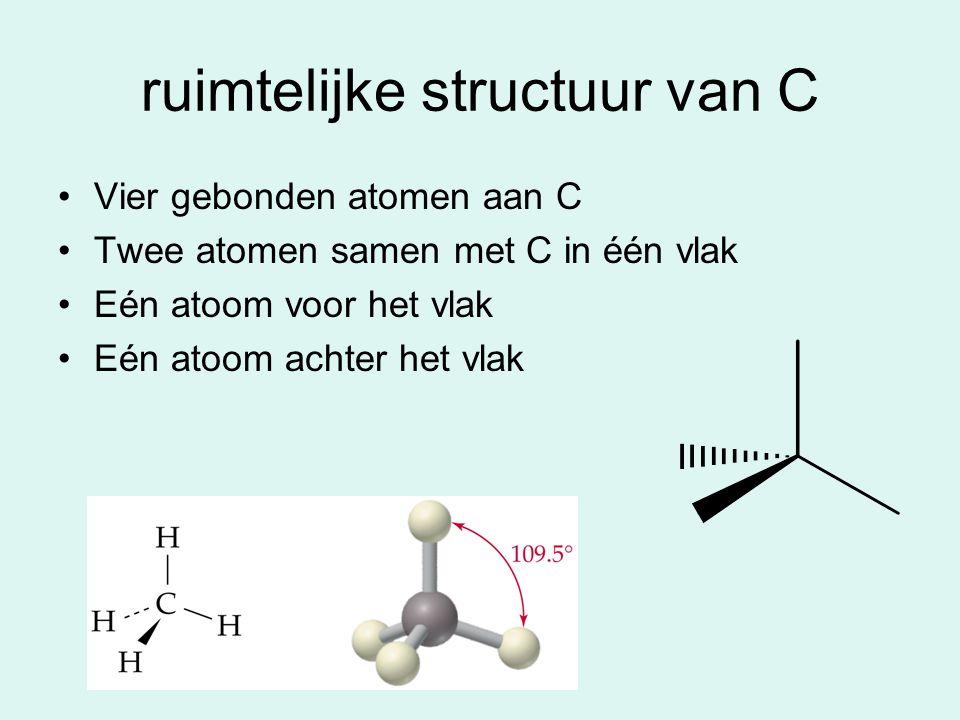 ruimtelijke structuur van C Vier gebonden atomen aan C Twee atomen samen met C in één vlak Eén atoom voor het vlak Eén atoom achter het vlak
