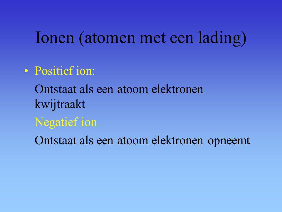 Ionen (atomen met een lading) Positief ion: Ontstaat als een atoom elektronen kwijtraakt Negatief ion Ontstaat als een atoom elektronen opneemt