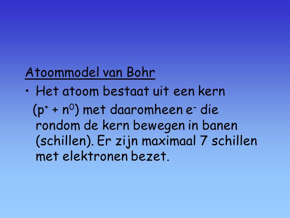 Atoommodel van Bohr Het atoom bestaat uit een kern (p + + n 0 ) met daaromheen e - die rondom de kern bewegen in banen (schillen).