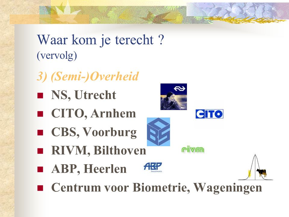 Waar kom je terecht ? (vervolg) 2) Financiële sector ING, A'dam, R'dam, Den Haag Achmea/Centraal Beheer, A'doorn Ohra, Arnhem ABN Amro, divers Transtr