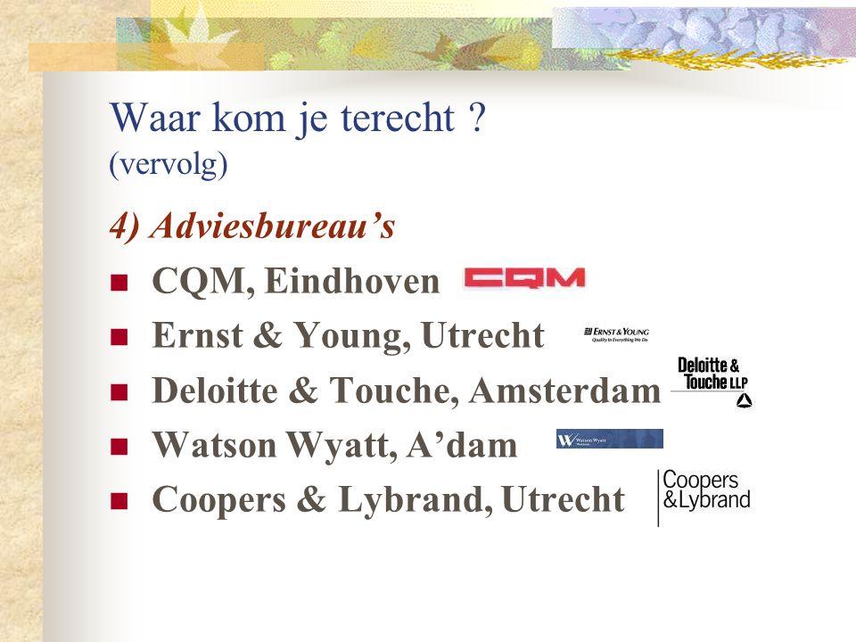 Waar kom je terecht ? (vervolg) 3) (Semi-)Overheid NS, Utrecht CITO, Arnhem CBS, Voorburg RIVM, Bilthoven ABP, Heerlen Centrum voor Biometrie, Wagenin