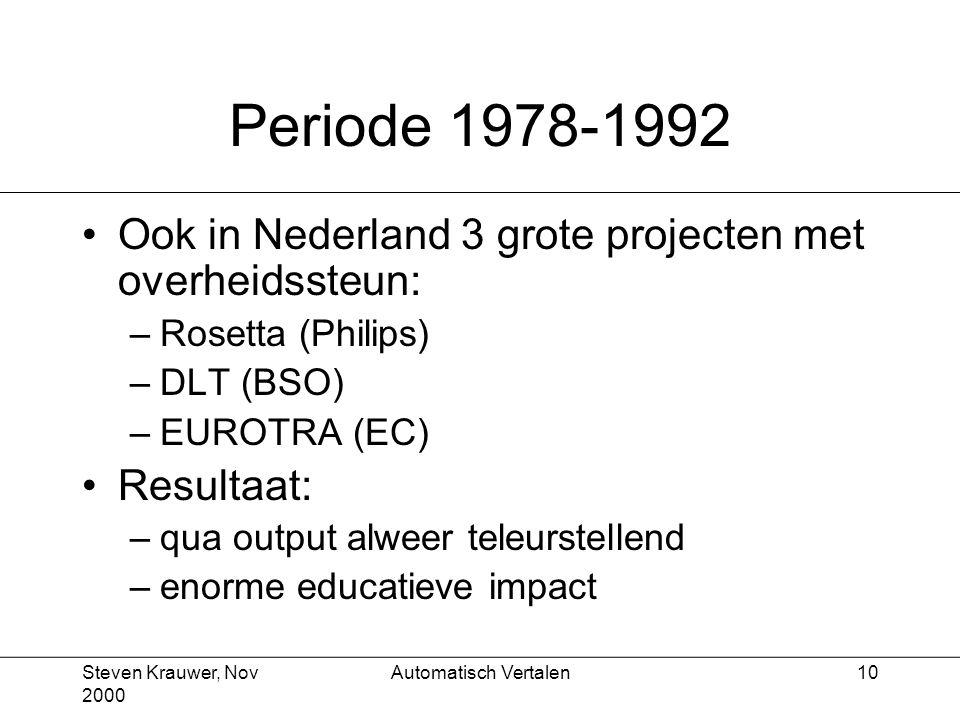 Steven Krauwer, Nov 2000 Automatisch Vertalen10 Periode 1978-1992 Ook in Nederland 3 grote projecten met overheidssteun: –Rosetta (Philips) –DLT (BSO) –EUROTRA (EC) Resultaat: –qua output alweer teleurstellend –enorme educatieve impact
