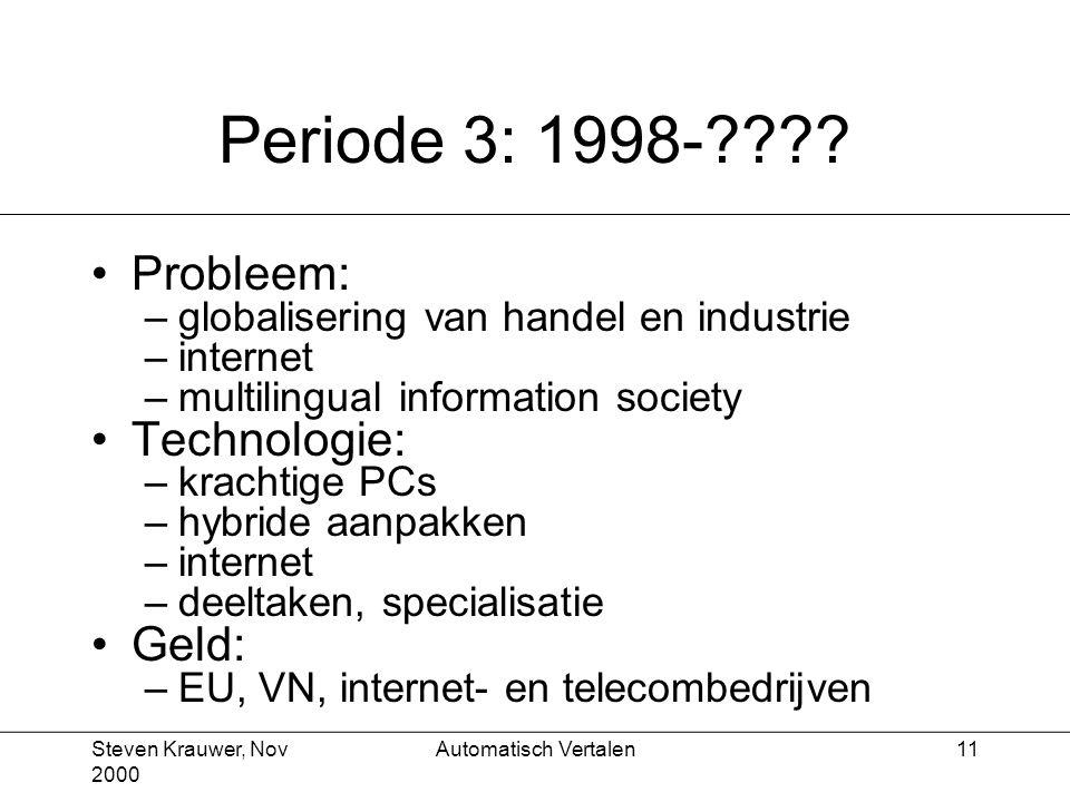 Steven Krauwer, Nov 2000 Automatisch Vertalen11 Periode 3: 1998-???.