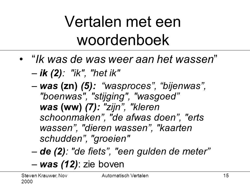 Steven Krauwer, Nov 2000 Automatisch Vertalen15 Vertalen met een woordenboek Ik was de was weer aan het wassen –ik (2): ik , het ik –was (zn) (5): wasproces , bijenwas , boenwas , stijging , wasgoed was (ww) (7): zijn , kleren schoonmaken , de afwas doen , erts wassen , dieren wassen , kaarten schudden , groeien –de (2): de fiets , een gulden de meter –was (12): zie boven