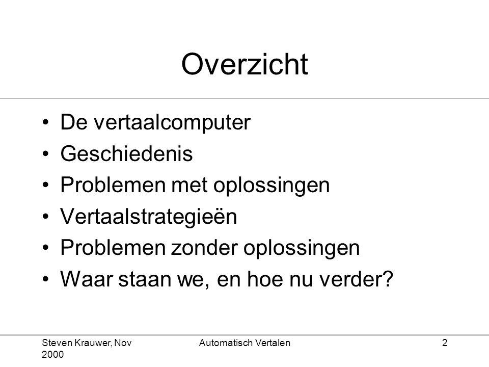 Steven Krauwer, Nov 2000 Automatisch Vertalen3 De vertaalcomputer Wat we er mee bedoelen Waarom we het eigenlijk doen
