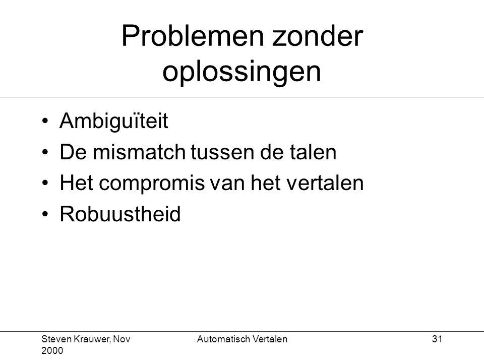 Steven Krauwer, Nov 2000 Automatisch Vertalen31 Problemen zonder oplossingen Ambiguïteit De mismatch tussen de talen Het compromis van het vertalen Robuustheid