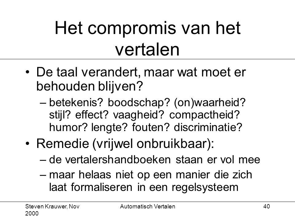 Steven Krauwer, Nov 2000 Automatisch Vertalen40 Het compromis van het vertalen De taal verandert, maar wat moet er behouden blijven.