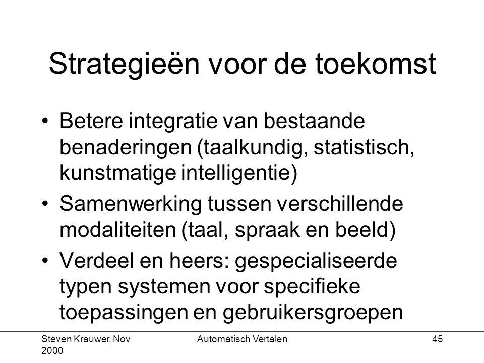 Steven Krauwer, Nov 2000 Automatisch Vertalen45 Strategieën voor de toekomst Betere integratie van bestaande benaderingen (taalkundig, statistisch, kunstmatige intelligentie) Samenwerking tussen verschillende modaliteiten (taal, spraak en beeld) Verdeel en heers: gespecialiseerde typen systemen voor specifieke toepassingen en gebruikersgroepen