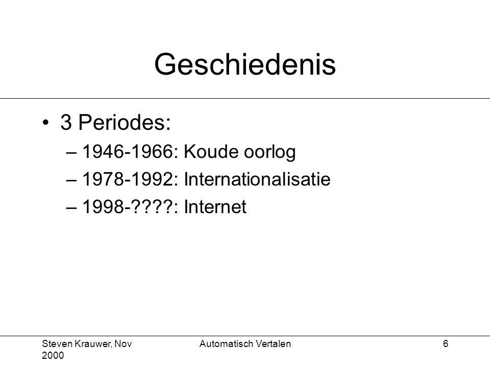 Steven Krauwer, Nov 2000 Automatisch Vertalen17 Vertalen met een woordenboek (vervolg) Resultaat: – Ik was de was weer aan het wassen –2x12x2x12x6x10x3x12=1 244 160 mogelijkheden Conclusie: –explosie aan keuzemogelijkheden –we weten nog steeds niet welke zin we moeten vertalen
