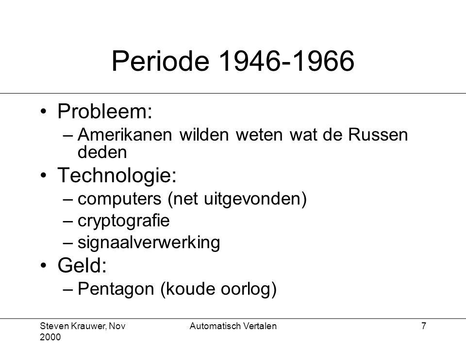 Steven Krauwer, Nov 2000 Automatisch Vertalen7 Periode 1946-1966 Probleem: –Amerikanen wilden weten wat de Russen deden Technologie: –computers (net uitgevonden) –cryptografie –signaalverwerking Geld: –Pentagon (koude oorlog)