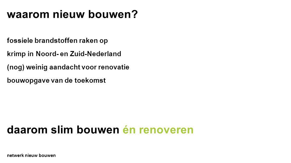 waarom nieuw bouwen? netwerk nieuw bouwen fossiele brandstoffen raken op krimp in Noord- en Zuid-Nederland (nog) weinig aandacht voor renovatie bouwop