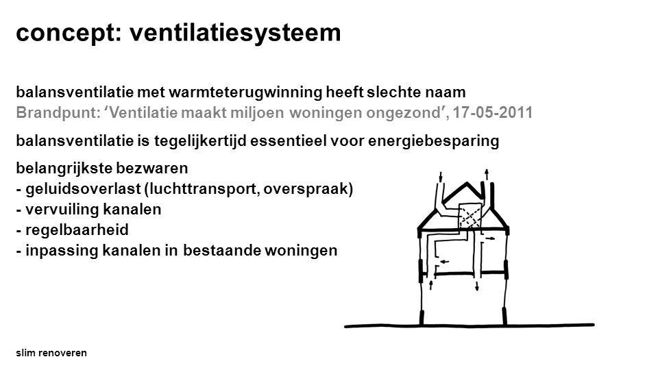 concept: ventilatiesysteem slim renoveren balansventilatie met warmteterugwinning heeft slechte naam Brandpunt: 'Ventilatie maakt miljoen woningen ongezond', 17-05-2011 balansventilatie is tegelijkertijd essentieel voor energiebesparing belangrijkste bezwaren - geluidsoverlast (luchttransport, overspraak) - vervuiling kanalen - regelbaarheid - inpassing kanalen in bestaande woningen