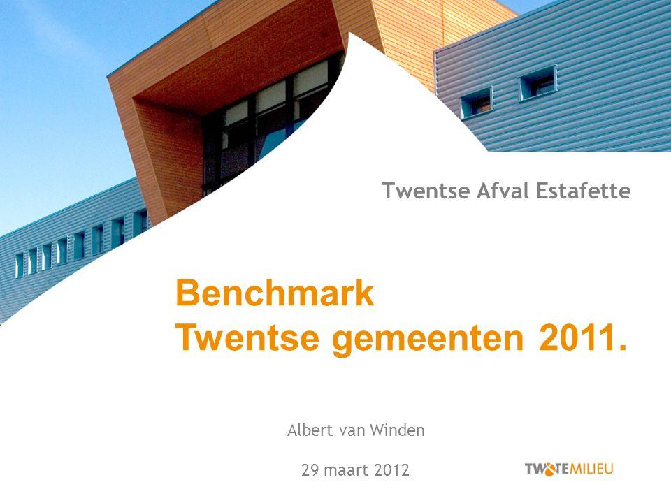 Twentse Afval Estafette Albert van Winden 29 maart 2012 Benchmark Twentse gemeenten 2011.