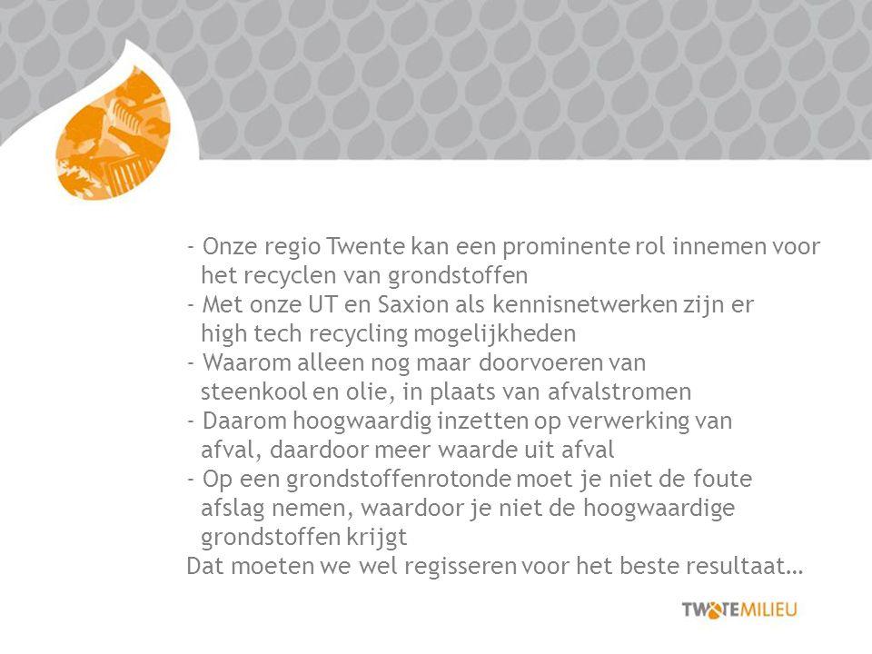 - Onze regio Twente kan een prominente rol innemen voor het recyclen van grondstoffen - Met onze UT en Saxion als kennisnetwerken zijn er high tech recycling mogelijkheden - Waarom alleen nog maar doorvoeren van steenkool en olie, in plaats van afvalstromen - Daarom hoogwaardig inzetten op verwerking van afval, daardoor meer waarde uit afval - Op een grondstoffenrotonde moet je niet de foute afslag nemen, waardoor je niet de hoogwaardige grondstoffen krijgt Dat moeten we wel regisseren voor het beste resultaat…