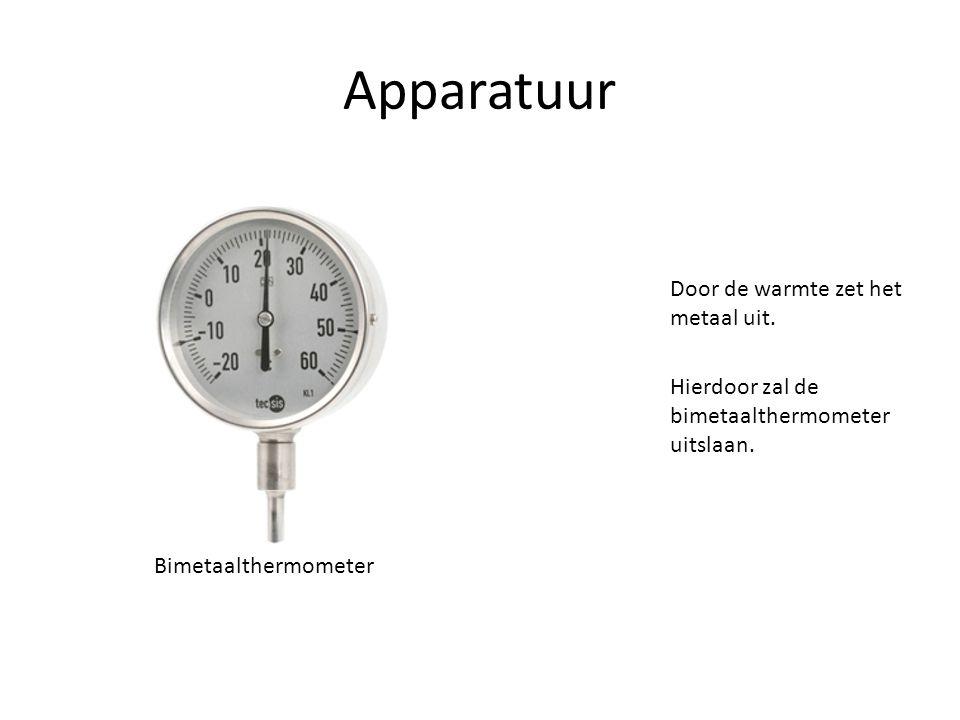 Apparatuur Door de warmte zet het metaal uit. Hierdoor zal de bimetaalthermometer uitslaan. Bimetaalthermometer