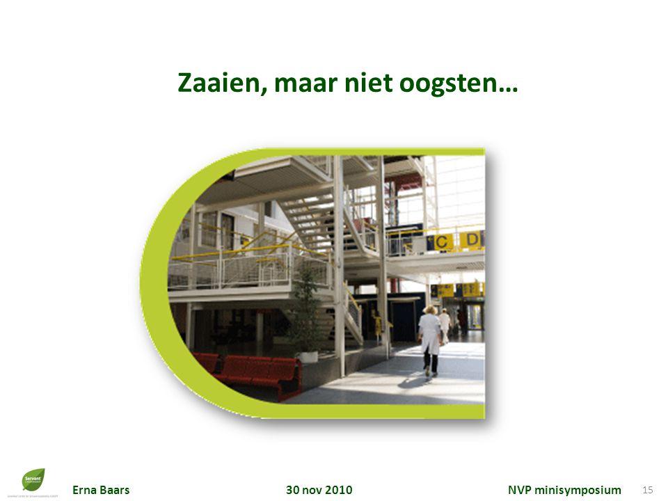 Erna Baars 30 nov 2010 NVP minisymposium 15 Zaaien, maar niet oogsten…