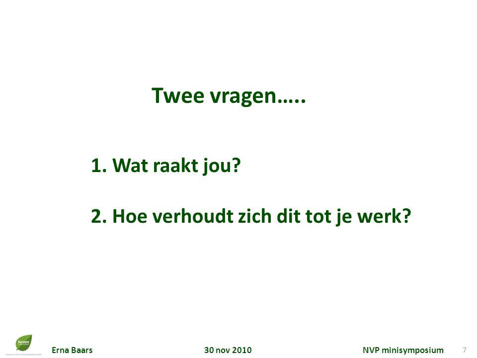 Erna Baars 30 nov 2010 NVP minisymposium 7 1. Wat raakt jou? 2. Hoe verhoudt zich dit tot je werk? Twee vragen…..