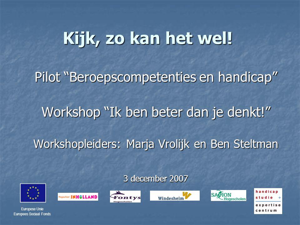 Europese Unie Europees Sociaal Fonds Wat biedt deze workshop.