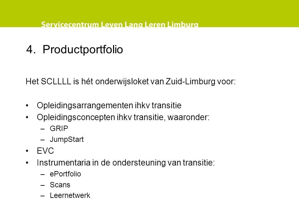 4. Productportfolio Het SCLLLL is hét onderwijsloket van Zuid-Limburg voor: Opleidingsarrangementen ihkv transitie Opleidingsconcepten ihkv transitie,