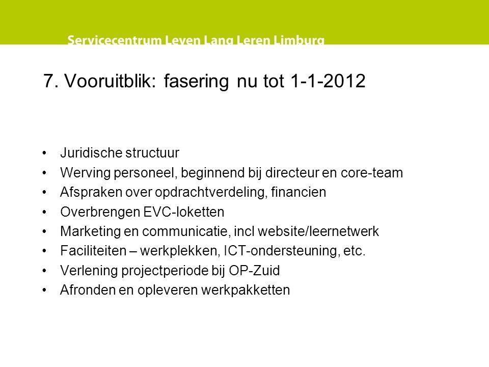 7. Vooruitblik: fasering nu tot 1-1-2012 Juridische structuur Werving personeel, beginnend bij directeur en core-team Afspraken over opdrachtverdeling