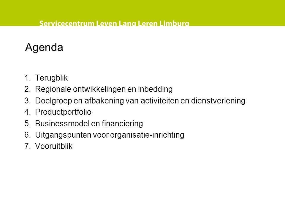 Agenda 1.Terugblik 2.Regionale ontwikkelingen en inbedding 3.Doelgroep en afbakening van activiteiten en dienstverlening 4.Productportfolio 5.Businessmodel en financiering 6.Uitgangspunten voor organisatie-inrichting 7.Vooruitblik