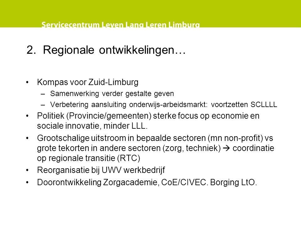 2. Regionale ontwikkelingen… Kompas voor Zuid-Limburg –Samenwerking verder gestalte geven –Verbetering aansluiting onderwijs-arbeidsmarkt: voortzetten