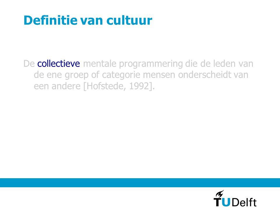 Definitie van cultuur De collectieve mentale programmering die de leden van de ene groep of categorie mensen onderscheidt van een andere [Hofstede, 19