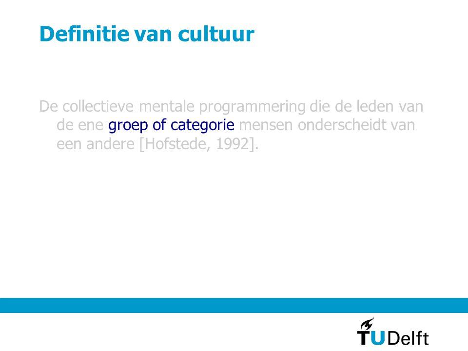 Definitie van cultuur De collectieve mentale programmering die de leden van de ene groep of categorie mensen onderscheidt van een andere [Hofstede, 1992].