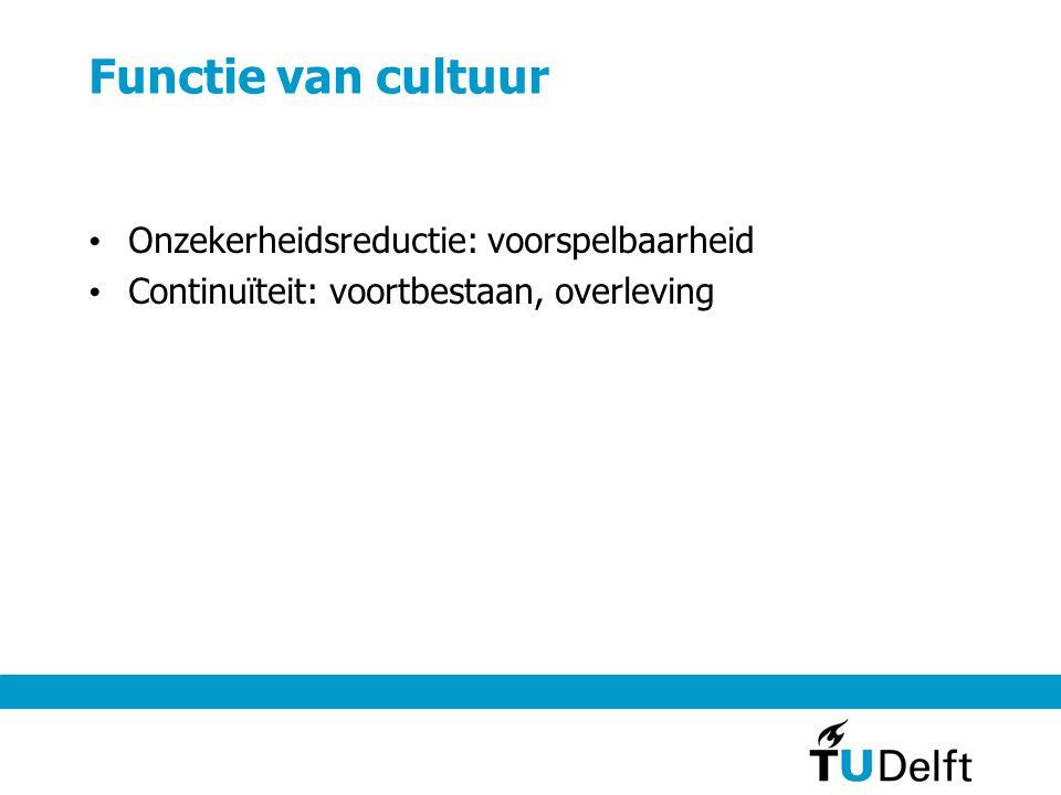 Functie van cultuur Onzekerheidsreductie: voorspelbaarheid Continuïteit: voortbestaan, overleving