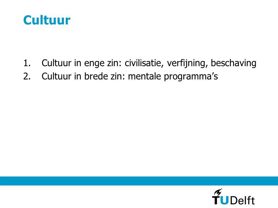 Cultuur 1.Cultuur in enge zin: civilisatie, verfijning, beschaving 2.Cultuur in brede zin: mentale programma's