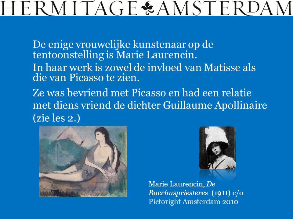De enige vrouwelijke kunstenaar op de tentoonstelling is Marie Laurencin. In haar werk is zowel de invloed van Matisse als die van Picasso te zien. Ma