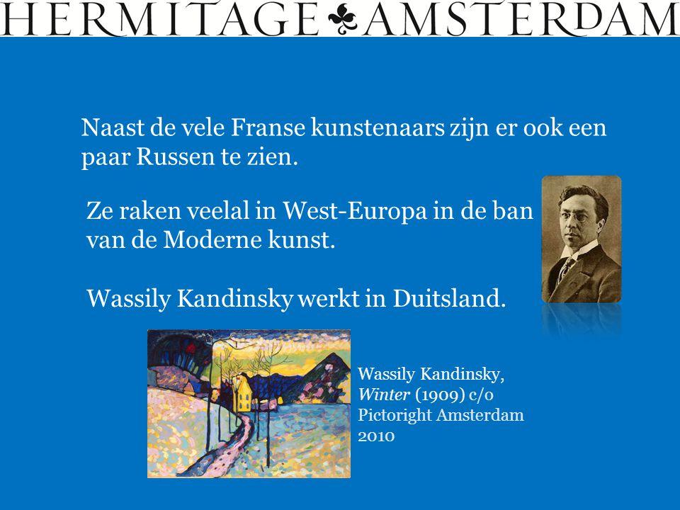 Naast de vele Franse kunstenaars zijn er ook een paar Russen te zien. Ze raken veelal in West-Europa in de ban van de Moderne kunst. Wassily Kandinsky