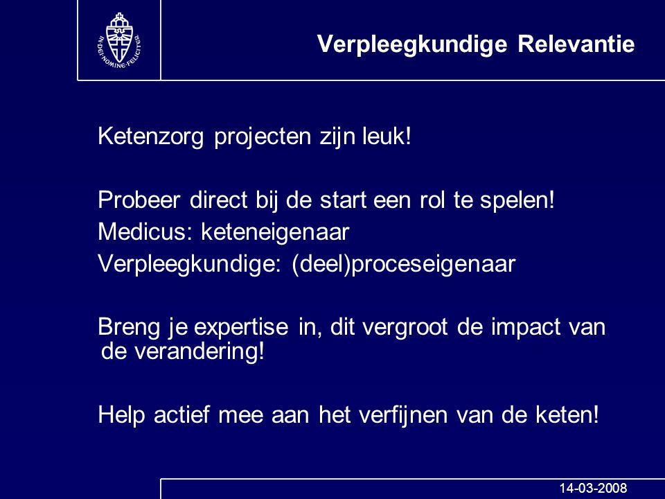 Verpleegkundige Relevantie Ketenzorg projecten zijn leuk! Probeer direct bij de start een rol te spelen! Medicus: keteneigenaar Verpleegkundige: (deel