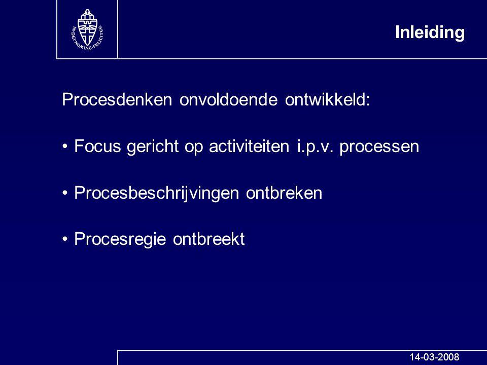Inleiding Procesdenken onvoldoende ontwikkeld: Focus gericht op activiteiten i.p.v. processen Procesbeschrijvingen ontbreken Procesregie ontbreekt 14-