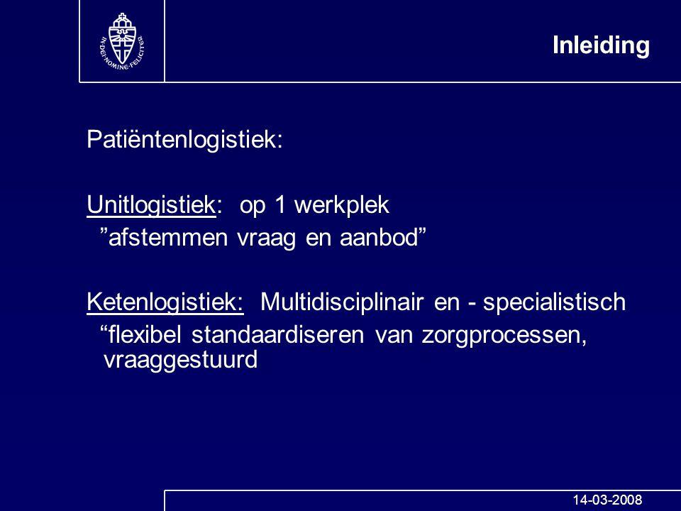 """Inleiding Patiëntenlogistiek: Unitlogistiek: op 1 werkplek """"afstemmen vraag en aanbod"""" Ketenlogistiek: Multidisciplinair en - specialistisch """"flexibel"""