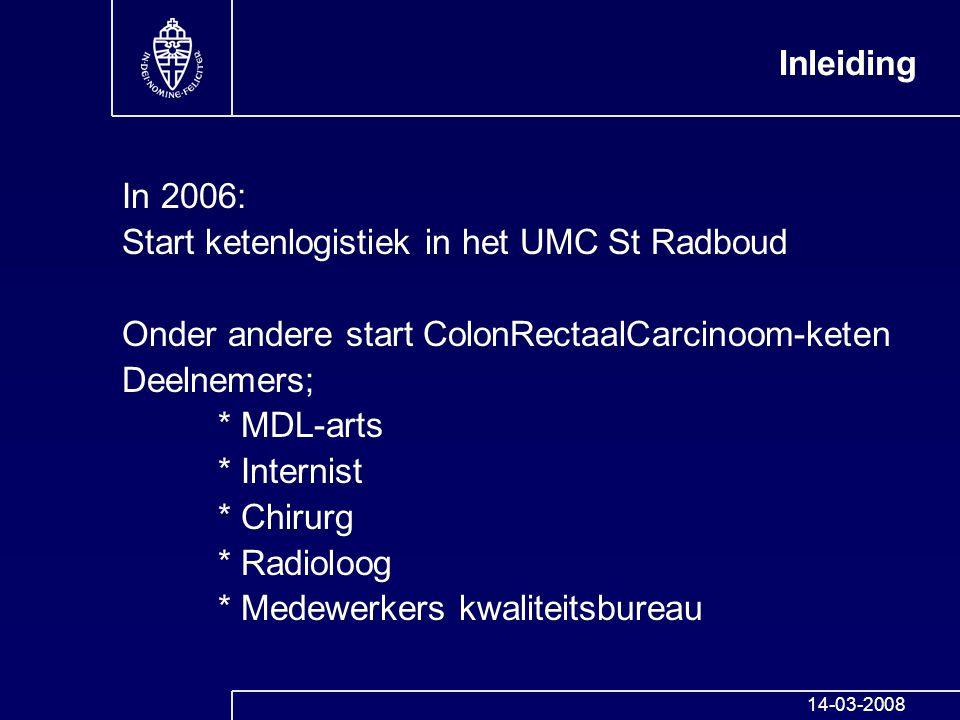 In 2006: Start ketenlogistiek in het UMC St Radboud Onder andere start ColonRectaalCarcinoom-keten Deelnemers; * MDL-arts * Internist * Chirurg * Radi