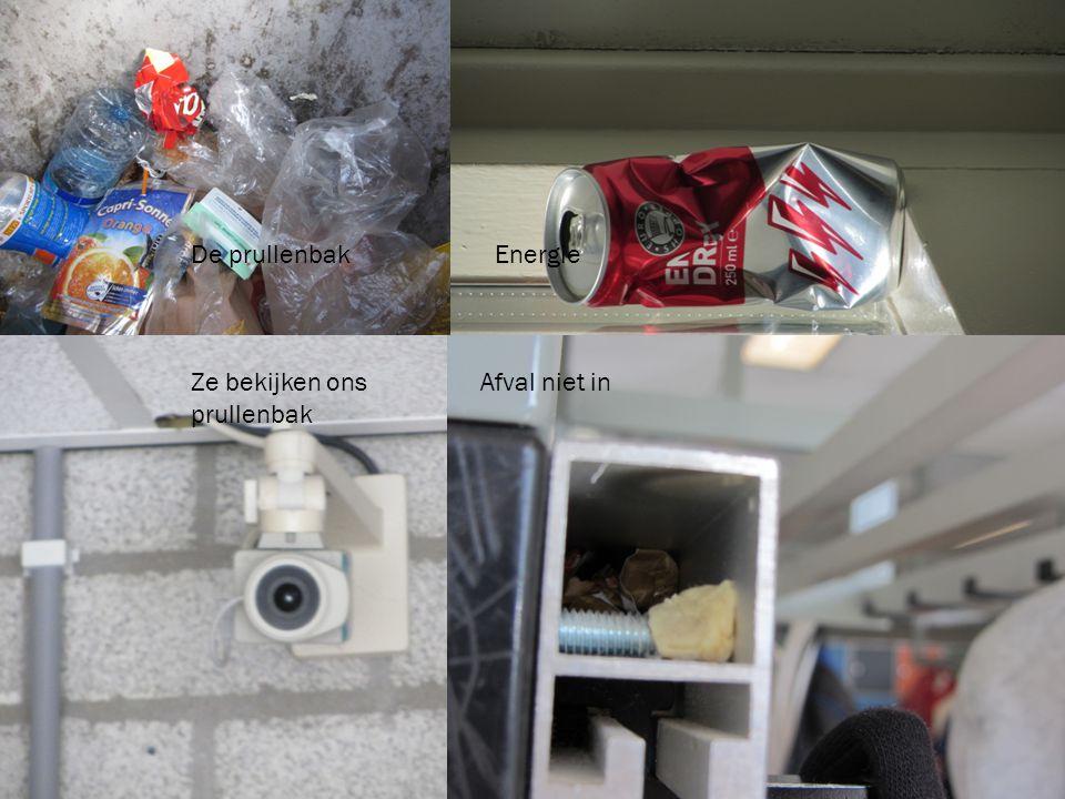 DE EERSTE OPDRACHT WAS GEWOON EEN PAAR KNIPJES DOOR DE SCHOOL MAKEN De prullenbak Energie Ze bekijken ons Afval niet in prullenbak