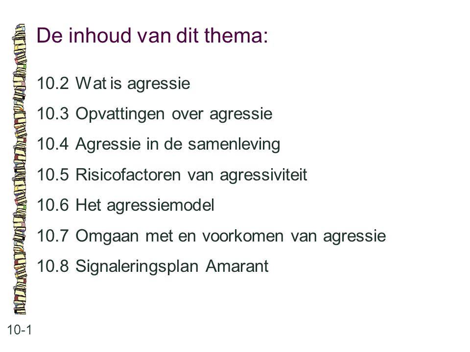De inhoud van dit thema: 10-1 10.2 Wat is agressie 10.3 Opvattingen over agressie 10.4 Agressie in de samenleving 10.5 Risicofactoren van agressivitei