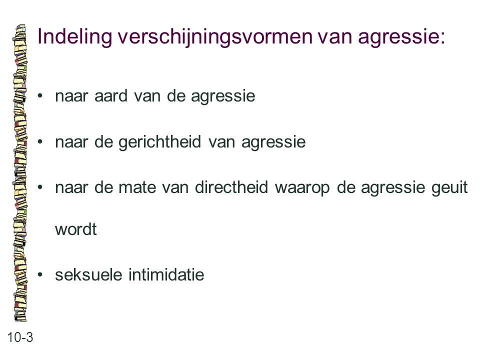 Indeling verschijningsvormen van agressie: 10-3 naar aard van de agressie naar de gerichtheid van agressie naar de mate van directheid waarop de agres