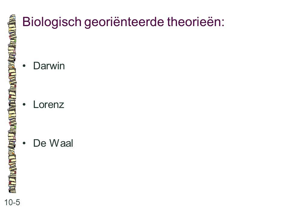 Biologisch georiënteerde theorieën: 10-5 Darwin Lorenz De Waal