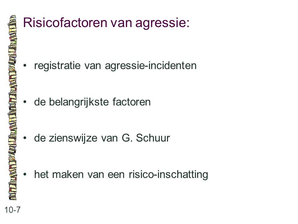 Risicofactoren van agressie: 10-7 registratie van agressie-incidenten de belangrijkste factoren de zienswijze van G. Schuur het maken van een risico-i