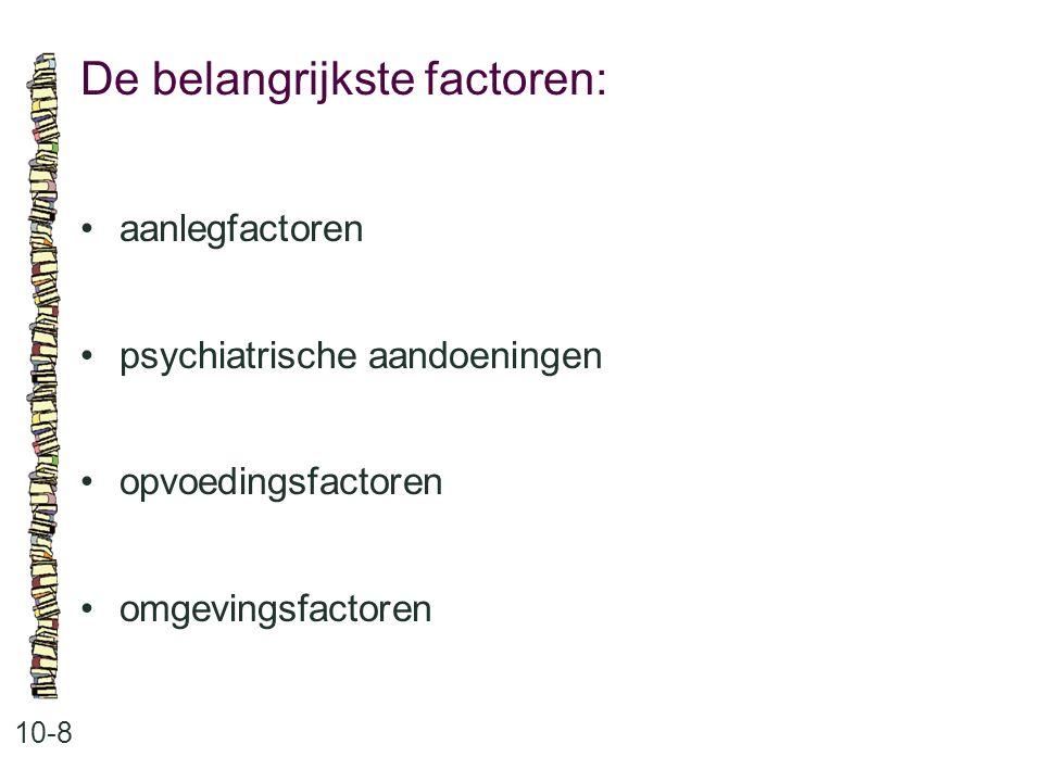 De belangrijkste factoren: 10-8 aanlegfactoren psychiatrische aandoeningen opvoedingsfactoren omgevingsfactoren