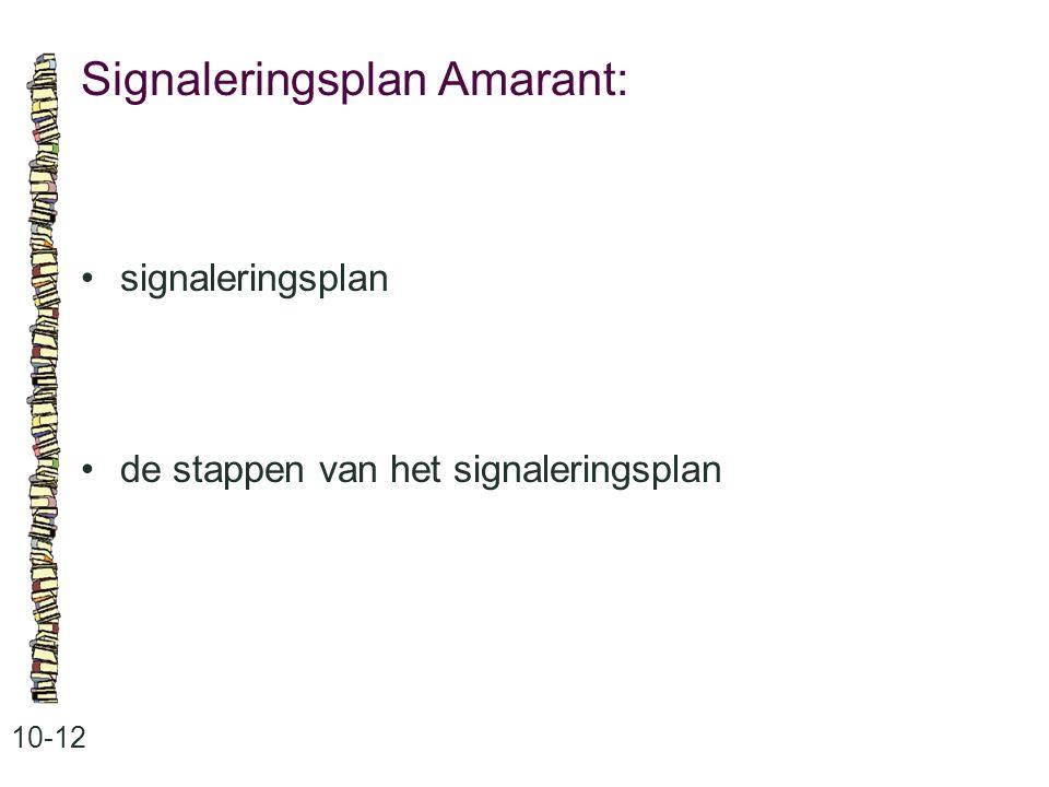 Signaleringsplan Amarant: 10-12 signaleringsplan de stappen van het signaleringsplan